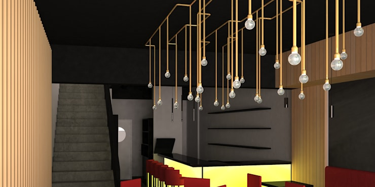 Remodelación de Restaurante de Sushi en Santiago de Chile, por DAMRA: Escaleras de estilo  por DIEGO ALARCÓN & MANUEL RUBIO ARQUITECTOS LIMITADA