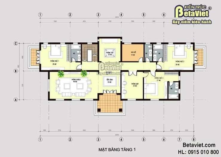 Mặt bằng tầng 1 mẫu biệt thự 2 tầng Hiện đại BT14501:   by Công Ty CP Kiến Trúc và Xây Dựng Betaviet