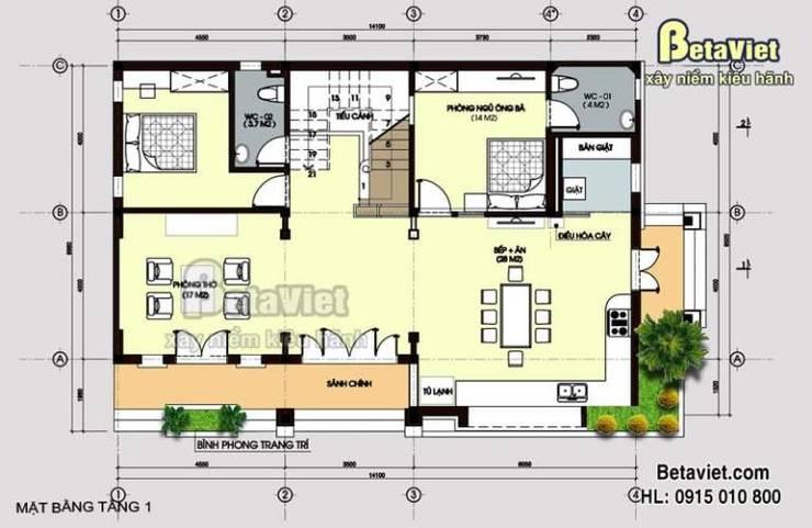 Mặt bằng tầng 1 mẫu nhà biệt thự đẹp 2,5 tầng Hiện đại (CĐT: Ông Đông – Hải Phòng) BT14454:   by Công Ty CP Kiến Trúc và Xây Dựng Betaviet