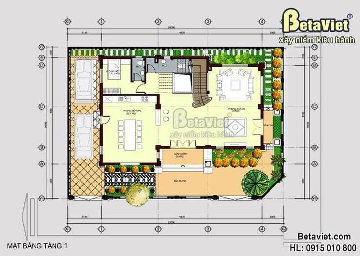 Mặt bằng tầng 1 biệt thự đẹp 4 tầng tân cổ điển BT15059:   by Công Ty CP Kiến Trúc và Xây Dựng Betaviet