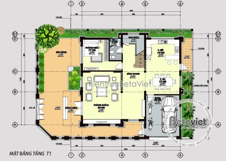 Mặt bằng tầng 1 mẫu thiết kế biệt thự 3 tầng Tân cổ điển KT16112:   by Công Ty CP Kiến Trúc và Xây Dựng Betaviet