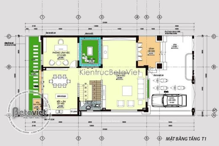 Mặt bằng tầng 1 thiết kế biệt thự đẹp 3 tầng Tân cổ điển kiến trúc châu Âu KT16078:   by Công Ty CP Kiến Trúc và Xây Dựng Betaviet