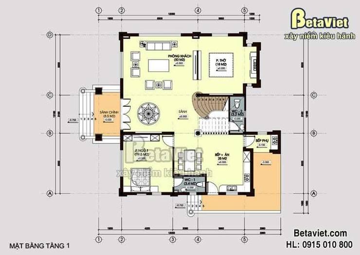 Mặt bằng tầng 1 mẫu biệt thự nhà đẹp 3 tầng Cổ điển BT14526:   by Công Ty CP Kiến Trúc và Xây Dựng Betaviet