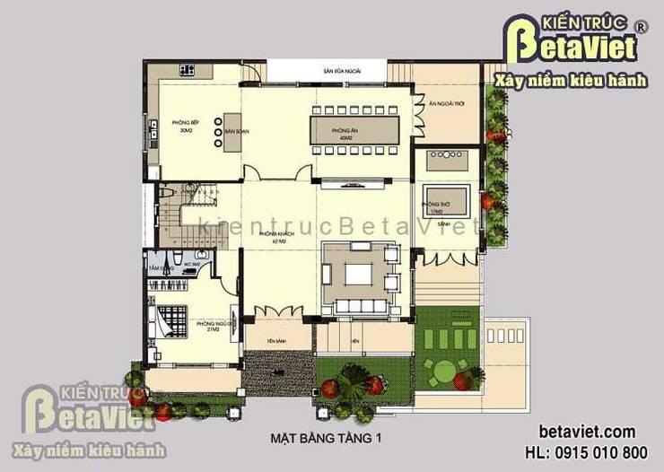 Mặt bằng tầng 1 mẫu biệt thự nhà đẹp 2 tầng Hiện đại BT14450:   by Công Ty CP Kiến Trúc và Xây Dựng Betaviet