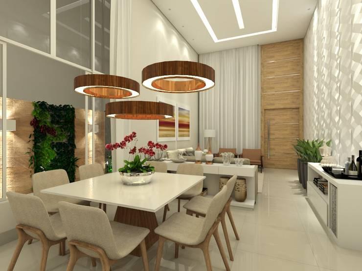 Residência R&D: Salas de jantar  por Juliana Azanha | Arquitetura e Interiores