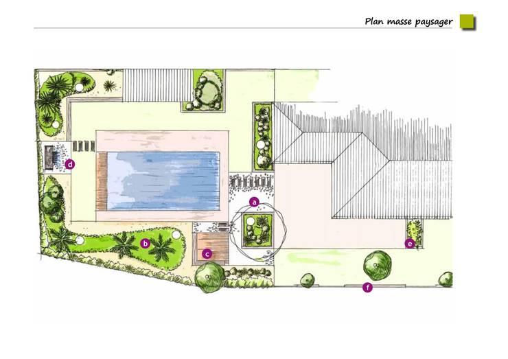 Plans: Jardin de style  par LES PAYSAGES URBAINS