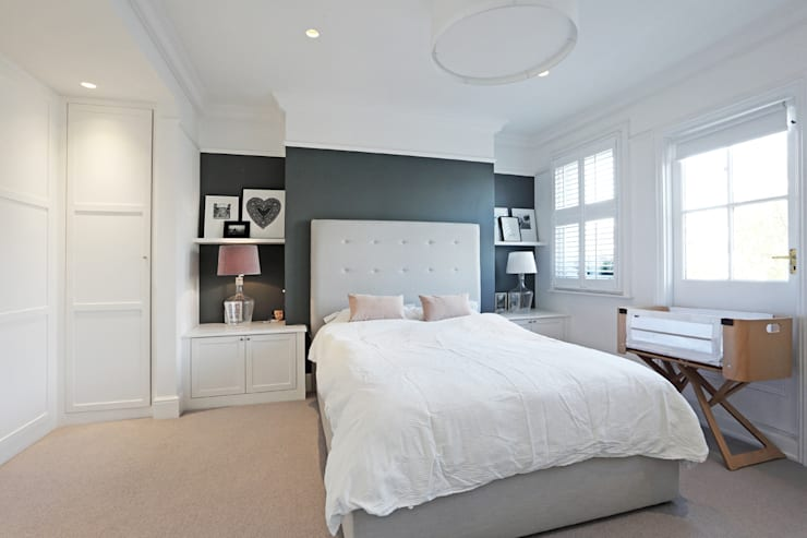 Edwardian meets contemporary; Teddington Family Home:  Bedroom by PAD ARCHITECTS
