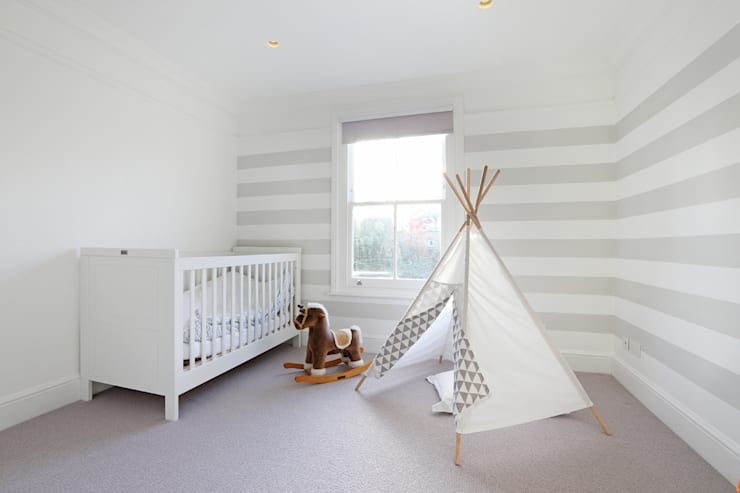 Edwardian meets contemporary; Teddington Family Home:  Nursery/kid's room by PAD ARCHITECTS