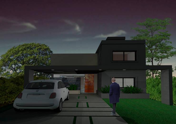 Render fachada frontal: Casas de estilo  por PIC Arquitectura,