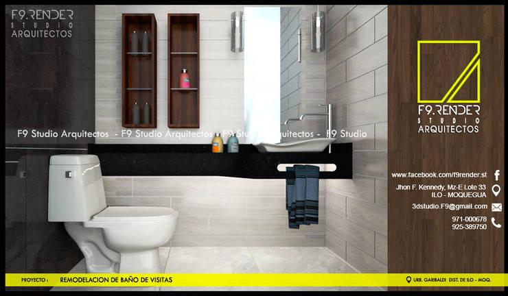 Detalle de encimera de Granito Negro: Baños de estilo  por F9.studio Arquitectos, Moderno Granito