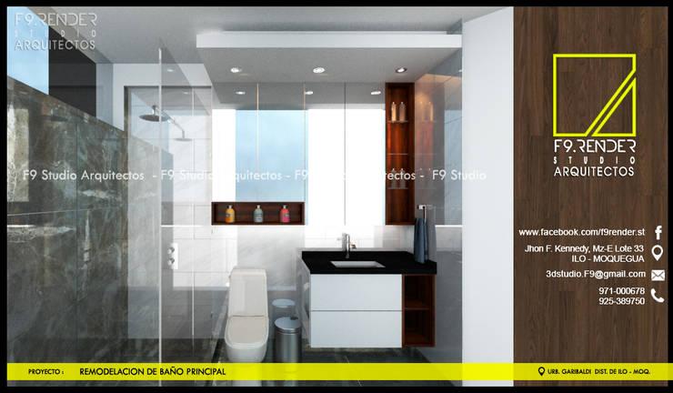 Salle de bains de style  par F9.studio Arquitectos, Moderne Céramique