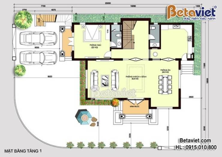 Mặt bằng tầng 1 mẫu biệt thự đẹp 3 tầng Tân cổ điển BT16007:   by Công Ty CP Kiến Trúc và Xây Dựng Betaviet