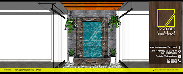 Jardines con piedras de estilo  por F9.studio Arquitectos
