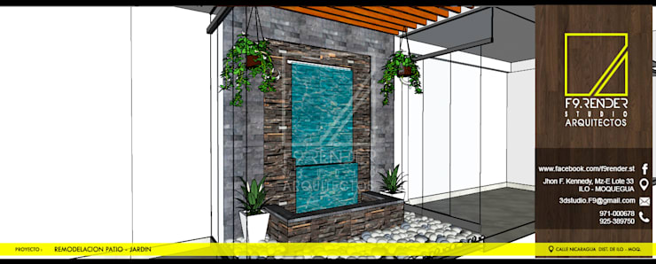 Jardines en la fachada de estilo  por F9.studio Arquitectos