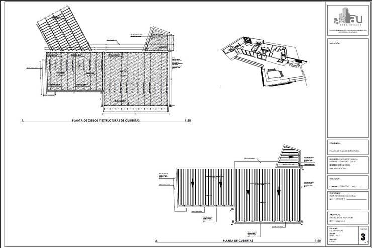Plano de cubierta y pisos:  de estilo  por Área Urbana Arquitectos SpA