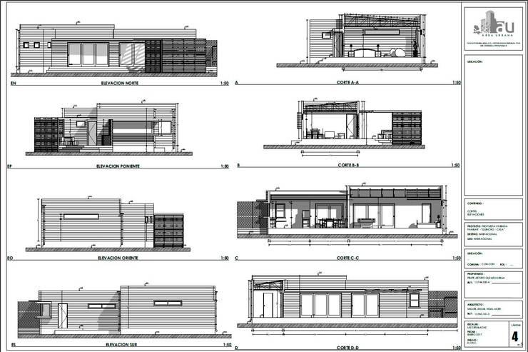 Elevaciones y cortes :  de estilo  por Área Urbana Arquitectos SpA