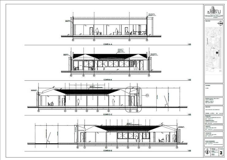 Plano de cortes:  de estilo  por Área Urbana Arquitectos SpA
