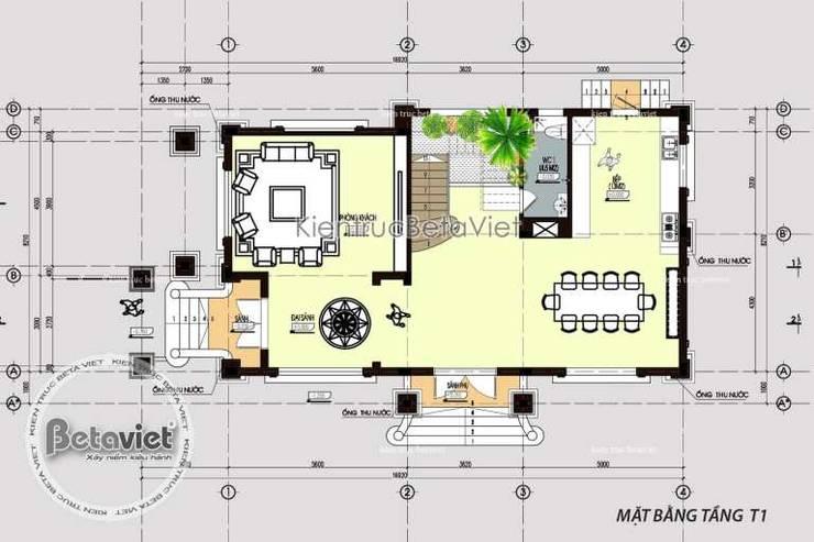 Mặt bằng tầng 1 mẫu thiết kế biệt thự đẹp 4 tầng Cổ điển KT16071:   by Công Ty CP Kiến Trúc và Xây Dựng Betaviet