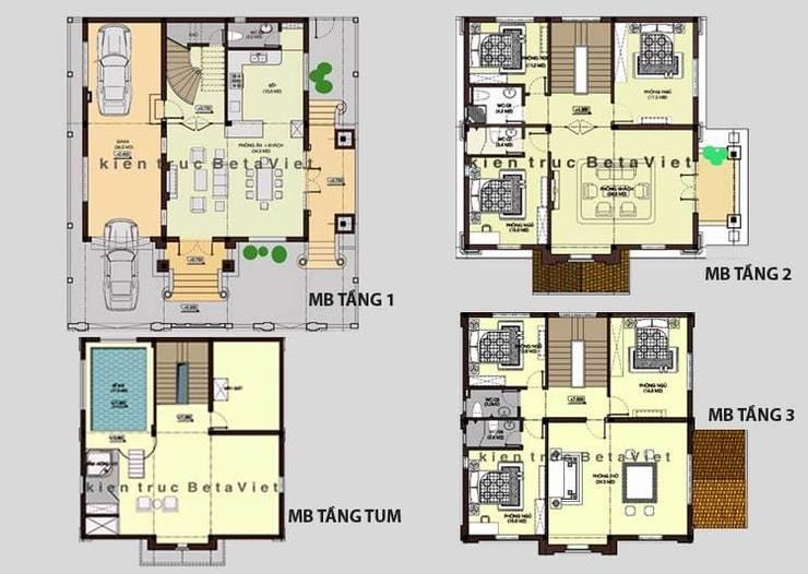 Mặt bằng tầng 1 mẫu nhà biệt thự đẹp 3 tầng Cổ điển BT13375:   by Công Ty CP Kiến Trúc và Xây Dựng Betaviet