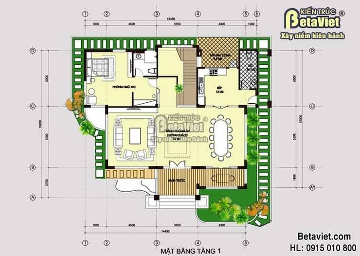 Mặt bằng tầng 1 mẫu biệt thự nhà đẹp 2 tầng Hiện đại BT14477:   by Công Ty CP Kiến Trúc và Xây Dựng Betaviet