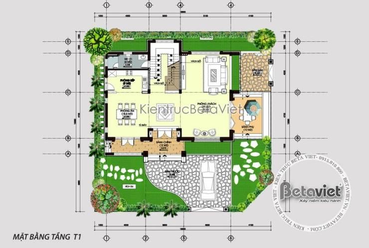 Mặt bằng tầng 1 mẫu thiết kế biệt thự 3 tầng Hiện đại đẹp KT16069:   by Công Ty CP Kiến Trúc và Xây Dựng Betaviet