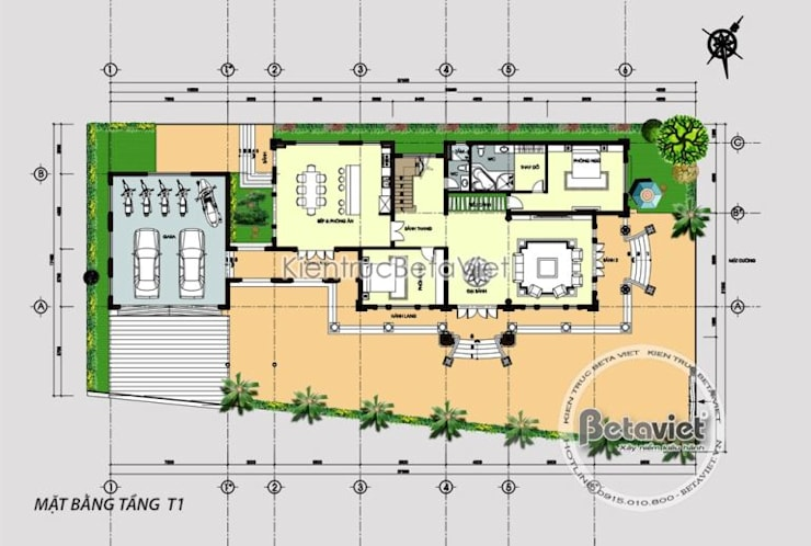 Mặt bằng tầng 1 mẫu biệt thự đẹp 2 tầng Tân cổ điển KT17048:   by Công Ty CP Kiến Trúc và Xây Dựng Betaviet