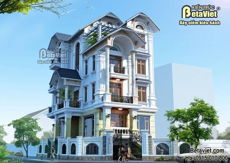 Phối cảnh mẫu thiết kế biệt thự nhà đẹp 4 tầng Tân cổ điển BT14482:   by Công Ty CP Kiến Trúc và Xây Dựng Betaviet