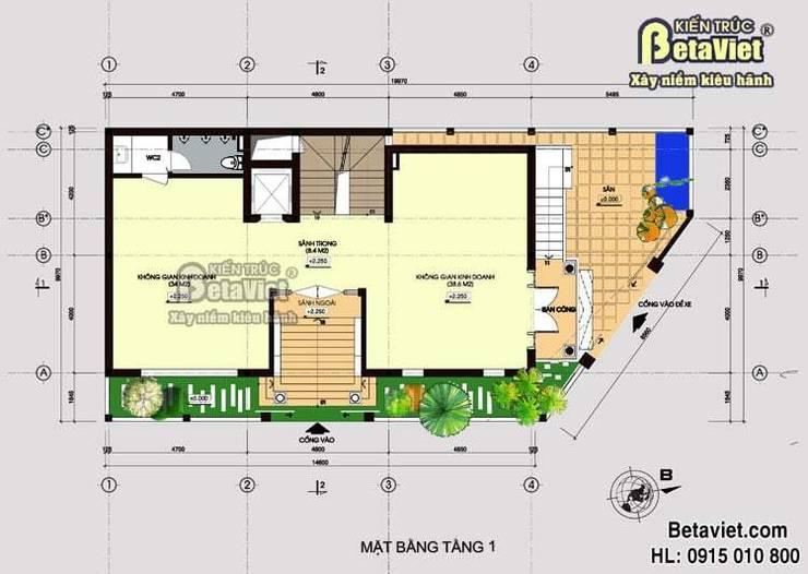 Mặt bằng tầng 1 mẫu thiết kế biệt thự nhà đẹp 4 tầng Tân cổ điển BT14482:   by Công Ty CP Kiến Trúc và Xây Dựng Betaviet