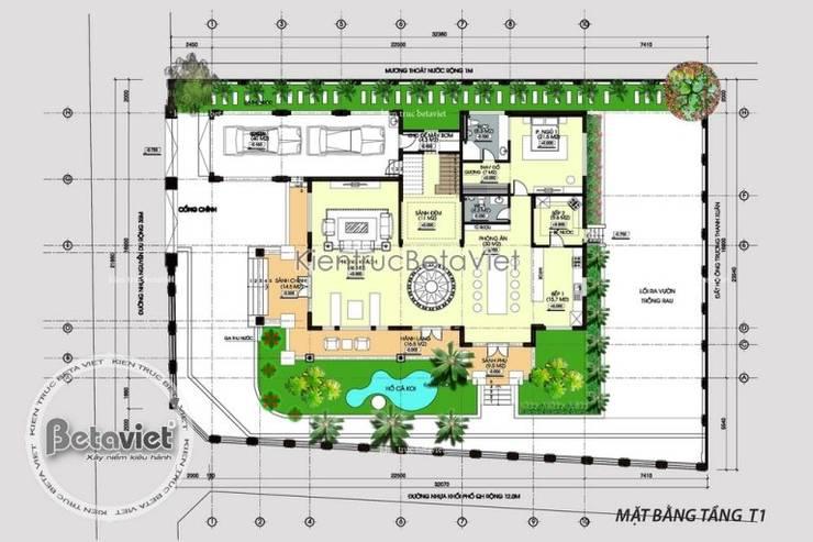 Mặt bằng tầng 1 mẫu thiết kế biệt thự vườn 2 tầng Hiện đại KT16017:   by Công Ty CP Kiến Trúc và Xây Dựng Betaviet