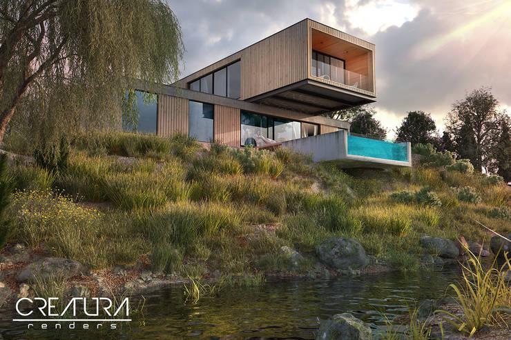 Casas de madera de estilo  por Creatura Renders, Minimalista
