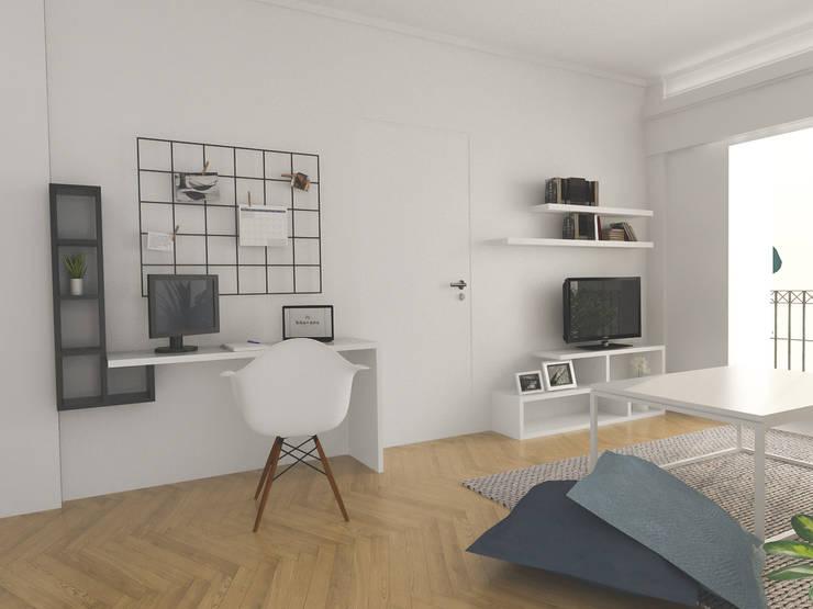 Obra Blanco Encalada – Diseño Living : Livings de estilo  por Bhavana,