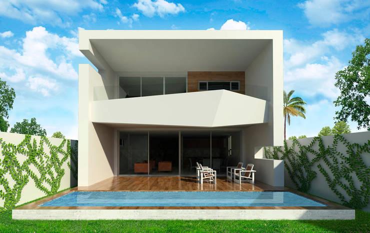 Vista frontal de alberca : Casas unifamiliares de estilo  por Facere Arquitectura