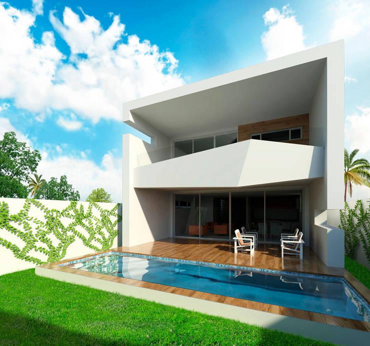 Vista de patio : Casas de estilo moderno por Facere Arquitectura