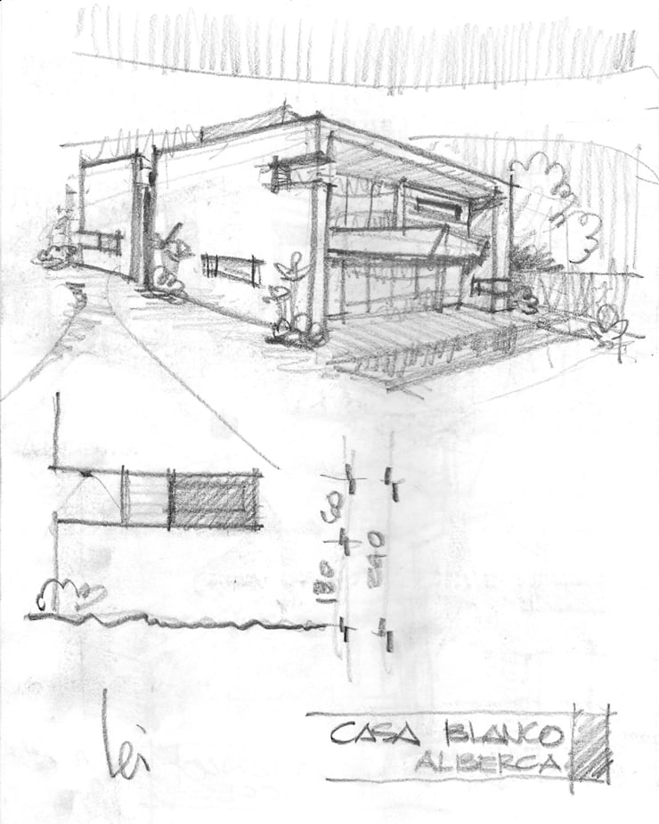 Boceto original, vista alberca :  de estilo  por Facere Arquitectura