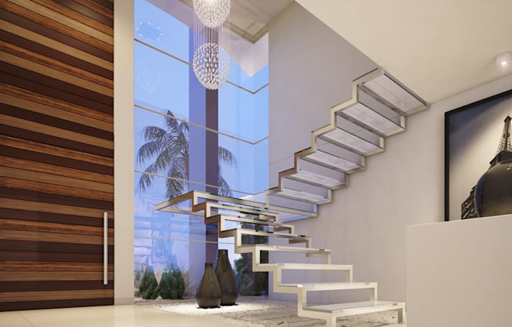 Escaleras de estilo  por Camila Pimenta | Arquitetura + Interiores