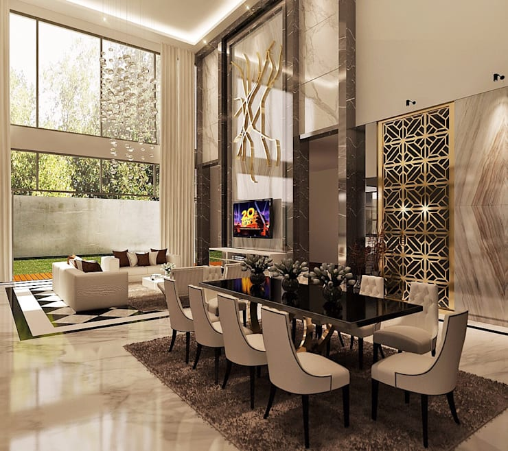 Void Area, Ruang Makan & Ruang Keluarga:  Ruang Keluarga by Lighthouse Architect Indonesia
