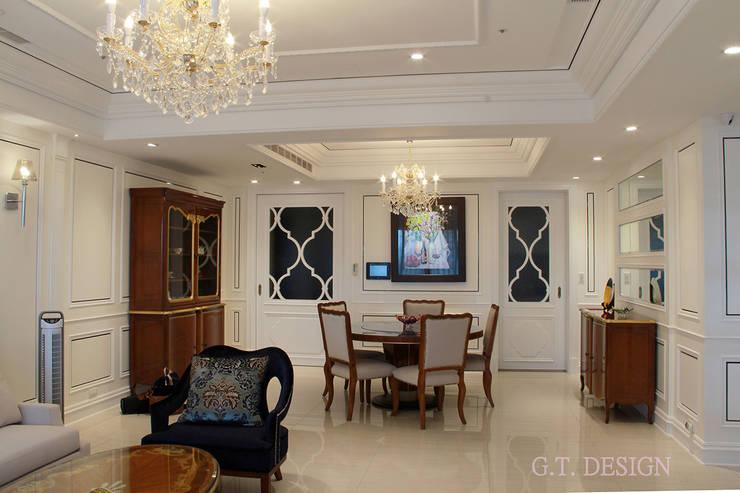 利用線板創造層次感豐富的空間:  餐廳 by G.T. DESIGN 大楨室內裝修有限公司