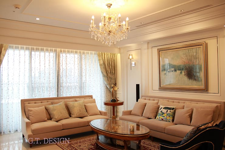 經典家具:  客廳 by G.T. DESIGN 大楨室內裝修有限公司