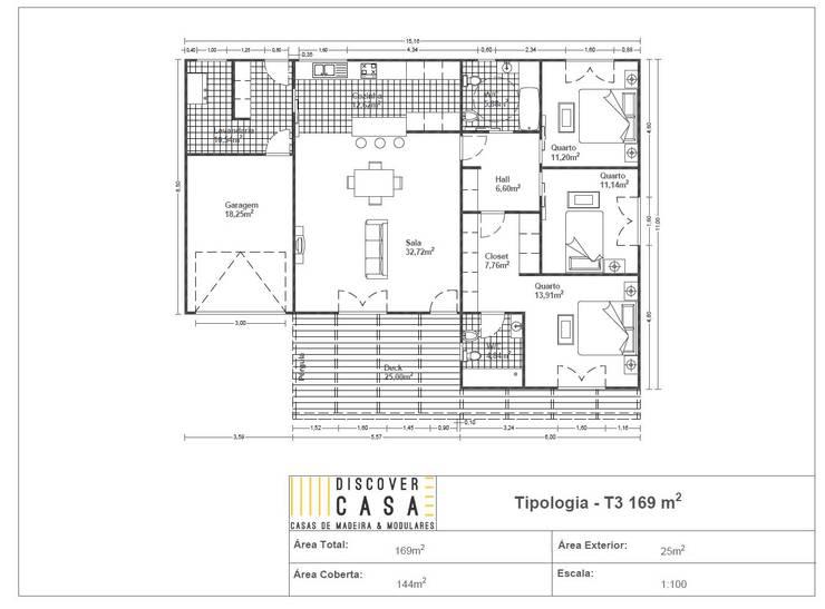 Planta | T3 169m²:   por Discovercasa | Casas de Madeira & Modulares