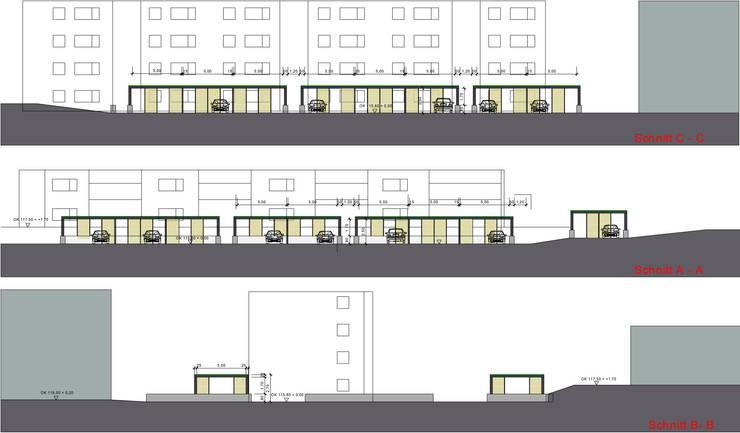 Carportanlage Rebhuhnweg Bochum - VBW Bauen und Wohnen:  Garage & Schuppen von Hower Landschaftsarchitekten