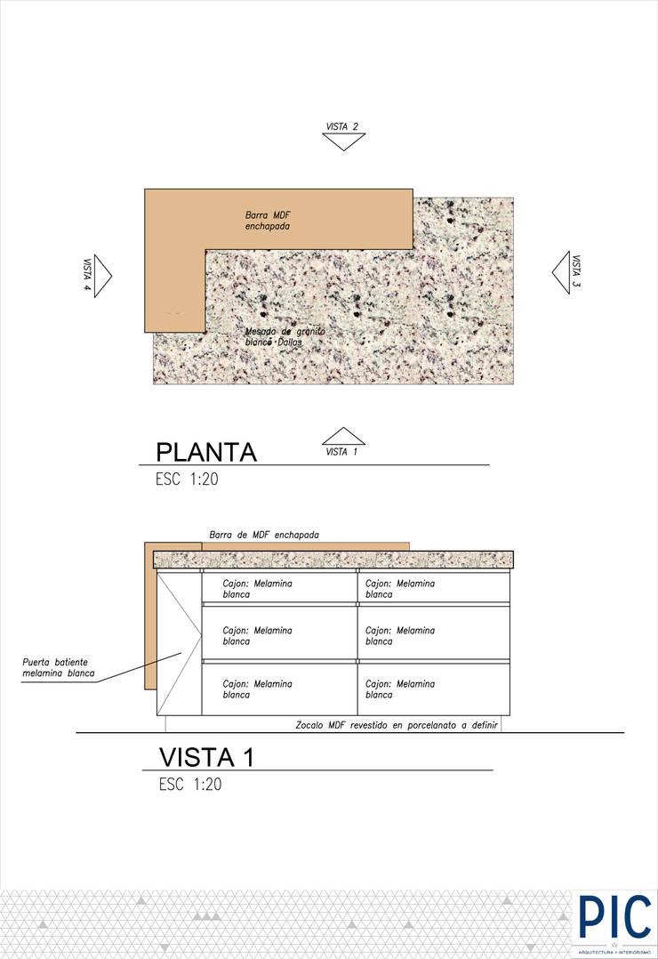 ISLA DE COCINA: Cocinas de estilo  por PIC Arquitectura,