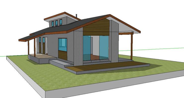 Fachada oriente. Modelo preliminar:  de estilo  por casa rural - Arquitectos en Coyhaique