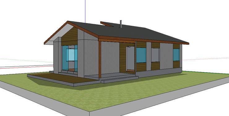 Fachada Norte. Modelo preliminar: Casas unifamiliares de estilo  por casa rural - Arquitectos en Coyhaique
