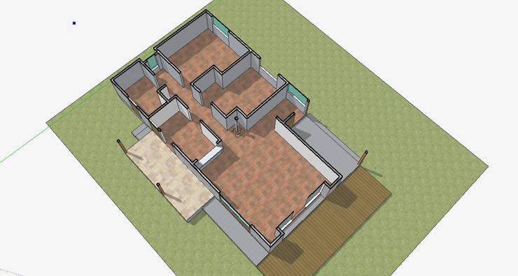 Distribución de ambientes:  de estilo  por casa rural - Arquitectos en Coyhaique