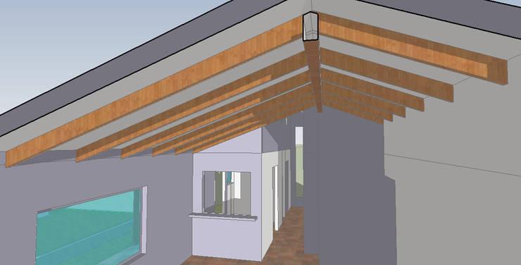 Render:  de estilo  por casa rural - Arquitectos en Coyhaique