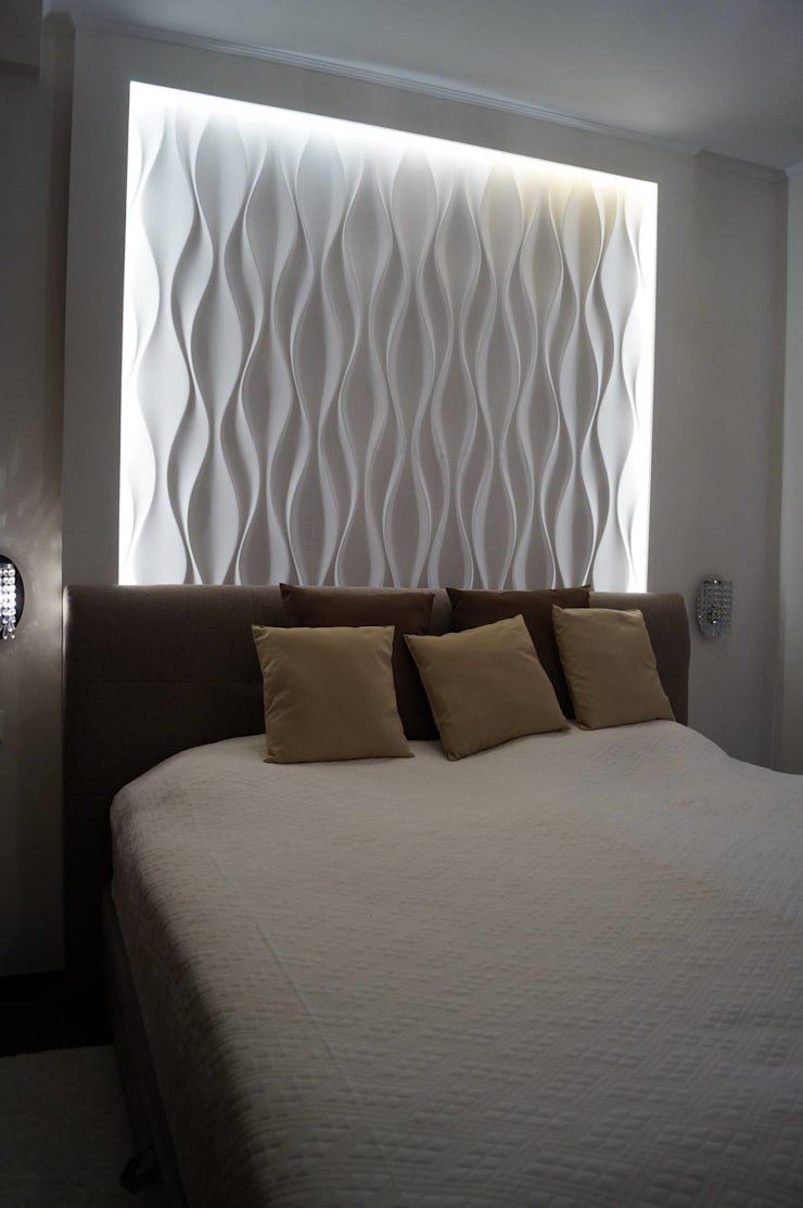 Schlafzimmer Wandgestaltung mit 3D Effekt und Betonlook von ...