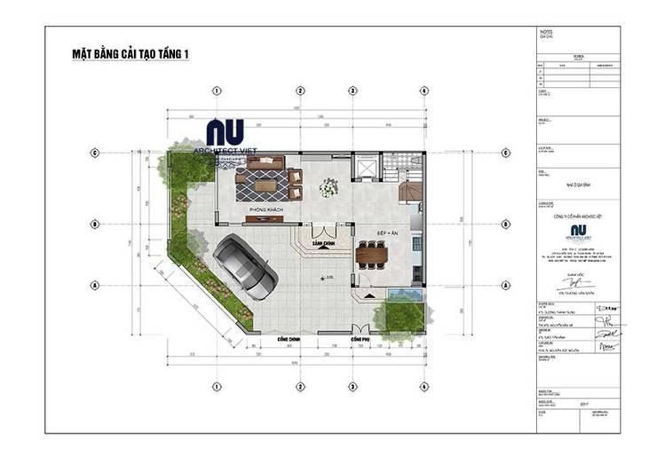 Biệt thự 3 tầng 1 tum 110m2:   by Công ty cổ phần Architect Việt