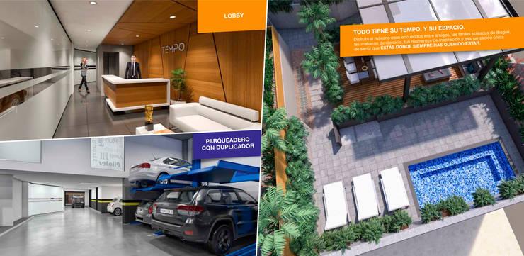 Tempo Urban Apartments: Jardines de estilo  por Construcciones y Urbanizaciones SAS