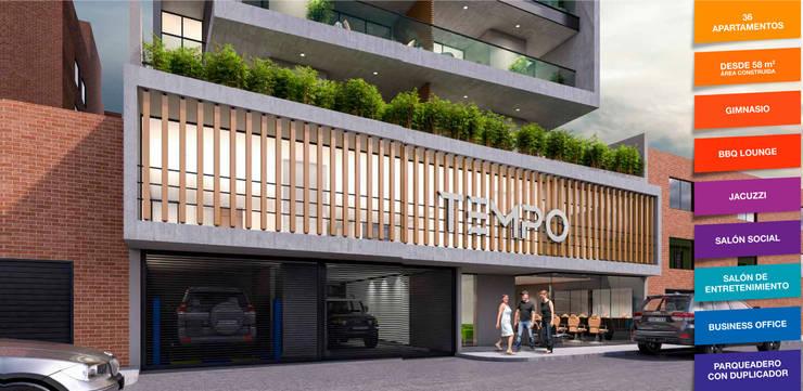 Tempo Urban Apartments: Casas de estilo  por Construcciones y Urbanizaciones SAS