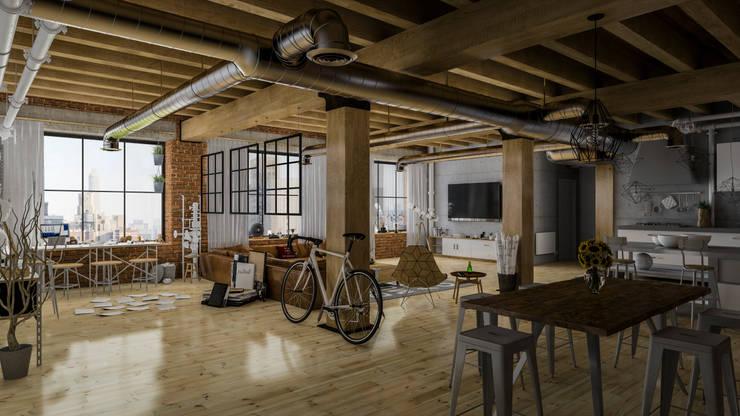 Diseño de Interior: Depas / Lofts.: Salas multimedia de estilo industrial por Mexikan Curious